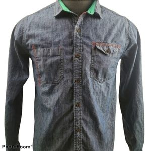 Orange Casual Button Long Sleeve Blue Shirt Size M